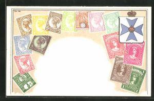 AK Queensland, Briefmarken und Wappen