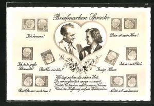 AK Briefmarkensprache Ich komme!, Dein ist mein Herz!, Innige Küsse und Portrait Paar in einem Herz