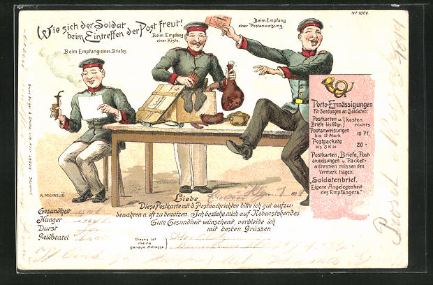 Lithographie Wie sich der Soldat beim Eintreffen der Post freut!, Soldatenhumor, Feldpost