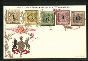 Lithographie Die ersten Briefmarken von Württemberg, Wappen