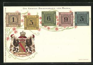 Lithographie Die ersten Briefmarken von Baden, Wappen