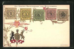 Lithographie Die ersten Briefmarken von Württemberg und das Wappen