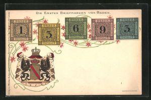 Lithographie Die ersten Briefmarken von Baden und das Wappen