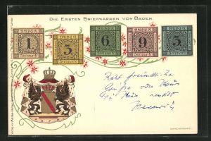 Lithographie Die ersten Briefmarken von Baden mit Wappen