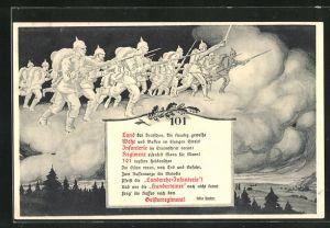 AK Soldaten im Himmel stürmen mit Bajonetten zum Angriff, das Geisterregiment