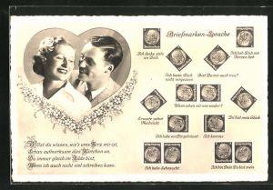 AK Briefmarkensprache, verliebtes Paar im Herz mit Briefmarken Theordor Heuss, Motivsätzen, Ich habe Sehnsucht