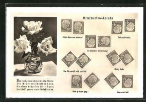 AK Briefmarkensprache, Rosen in Vase, Briefmarken mit Theordor Heuss, Motivsprüche Ganz dein, Dein ist mein Herz