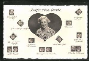 AK Briefmarkensprache, Frau in Herz, Briefmarken mit Bismarck, Du bist mein Glück, Ich habe von dir geträumt
