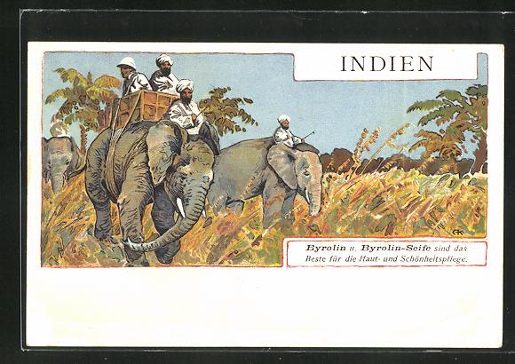 AK Werbung für Byrolin u. Byrolin-Seife, indische Elefanten mit Treiber und Passagieren