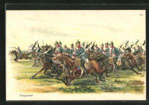 AK Kavallerie, Angriff der Dragoner mit Lanzen und Pickelhauben