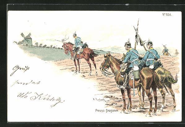 AK Kavallerie, preuss. Dragoner mit Pickelhaube observieren Windmühle
