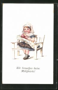 AK Wir brauchen keine Milchkarte, Kleines Mädchen mit seiner Puppe