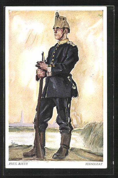 Künstler-AK sign. Paul Rieth: Seesoldat in Uniform mit Gewehr, genannt Der schwarze Jäger