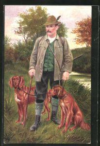 AK Jäger mit Stock und zwei Hunden