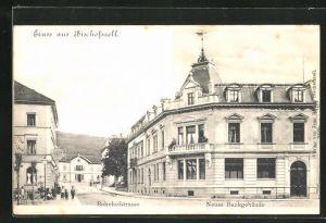 AK Bischofszell, Bahnhofstrasse u. Neues Bankgebäude