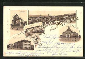 Lithographie Frauenfeld, Totalansicht, Schloss, Kaserne, Neue Post
