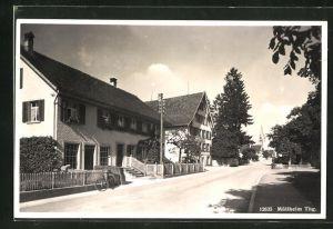 AK Müllheim Thg., Teilansicht mit Strasse und Häuser