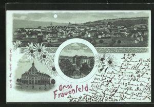 Mondschein-Lithographie Frauenfeld, Totalansicht, Neue Post, Kantonsschule