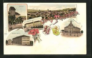 Lithographie Frauenfeld, Totalansicht, Schloss, Kantons-Schule, Neue Post, Wappen