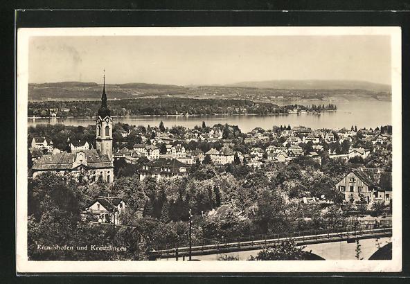 AK Emmishofen, Teilansicht mit Blick nach Kreuzlingen