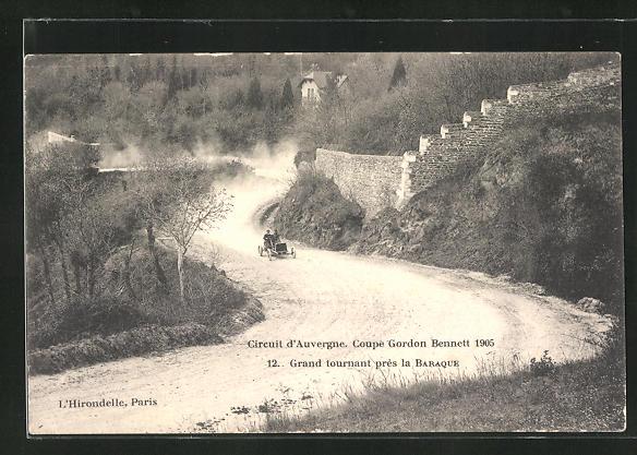 AK Autorennen Circuit d`Auvergne / Coupe Gordon Bennett 1905, Grand tournant près la Baraque