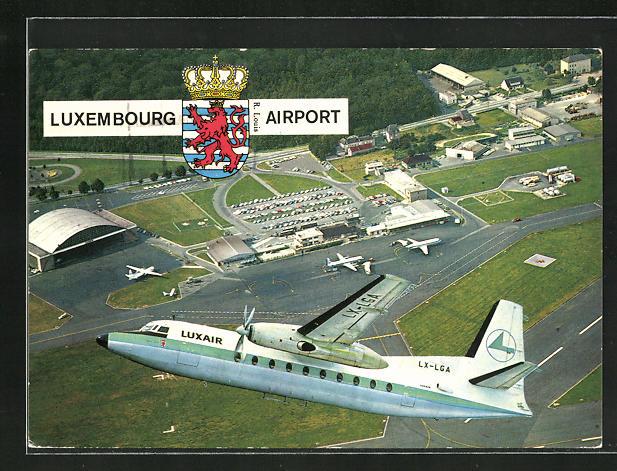AK Luxembourg, Fliegeraufnahme vom Flughafen