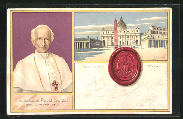 Künstler-Lithographie R. Heineke: Rom, Vatican, Se. Heiligkeit Papst Leo XIII.