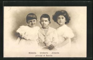 AK Mafalda, Umberto und Jolanda von Italien als Kinder, principi di Savoia