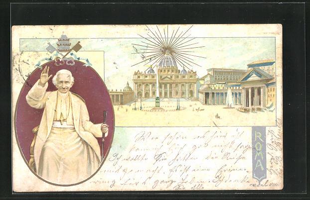 Lithographie Roma, Vatikan und Papst Leo XIII.