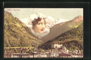 AK Interlaken, Panorama und Berg mit Gesicht / Berggesicht, Berggesichter