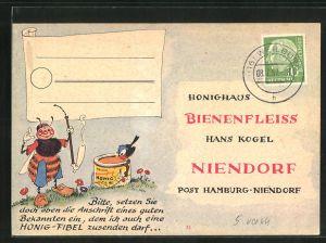 AK Niendorf, Honighaus Bienenfleiss, Hans Kogel, Biene mit einem Honigglas