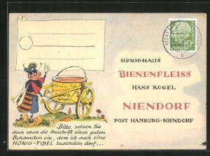 AK Nierendorf, Honighaus Bienenfleiss, Hans Kogel, Biene mit Honigglas auf einem Karren