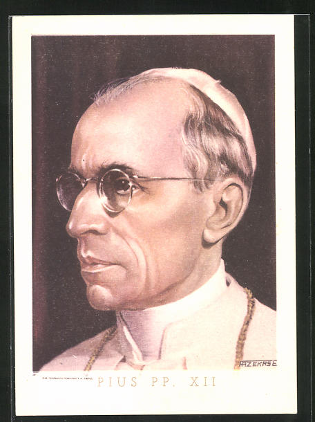 AK Portrait Papst Pius XII. mit Brille