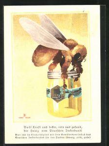 Künstler-AK Carlo Egler: Voll Kraft und lecker..., Biene mit Honigglas