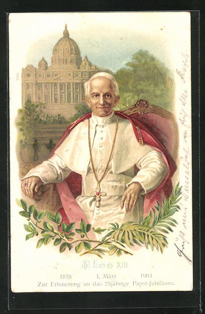 AK Papst Leo XIII. im Sessel sitzen, Blick auf den Petersdom