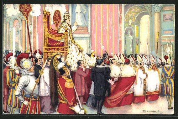 AK Papst Pius XI. zieht in den Petersdom ein