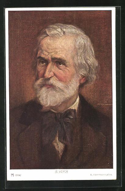 AK Der Komponist G. Verdi mit dunkler Schleife am Anzug