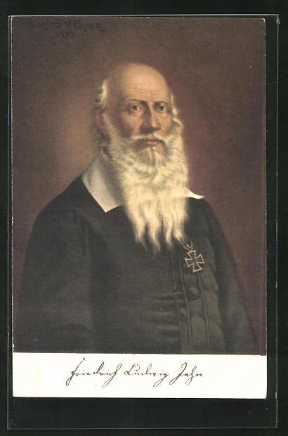 AK Turnvater Jahn mit Eisernem Kreuz am Jacket