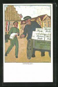 AK Alter mann mit Karren Paketen voller Pelikan-Tinte, Zeitungsjunge trägt das Extrablatt aus