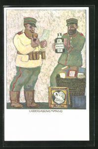 AK Soldat mit einer Flasche Pelikan-Tinte, älterer Soldat liest einen Brief