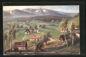 Künstler-AK Agnetendorf, Ortsansicht mit den Schneegruben