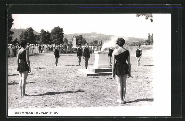 AK Helsinki, XV. Olympische Spiele 1952, Entzündung des olympischen Feuers
