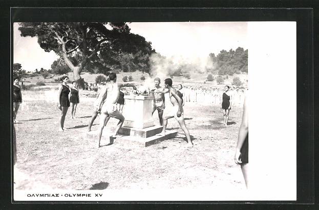 AK Helsinki, XV. Olympische Spiele 1952, Eöffnungszeremonie, Entzündung des olympischen Feuers