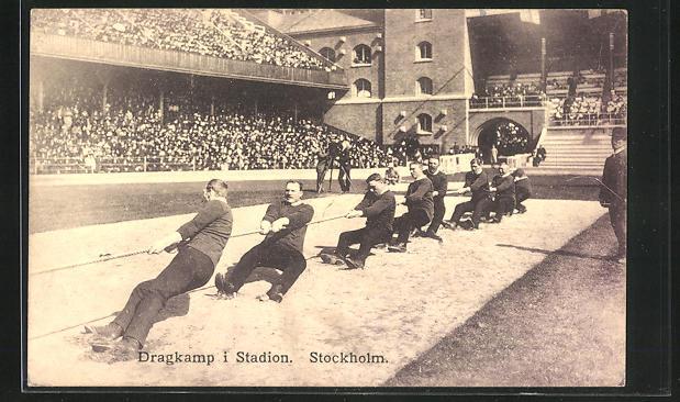 AK Stockholm, Olympiade 1912, Wettkampf im Seilziehen