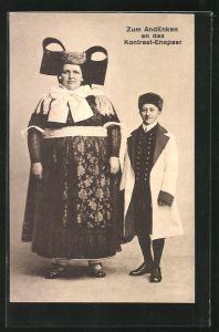 AK Kontrast-Ehepaar in Tracht von Schaumburg-Lippe, Übergewichtige Frau mit schlankem Ehemann