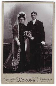 Fotografie Atelier Corona, Zwickau i/S, Portrait Braut und Bräutigam, Hochzeit