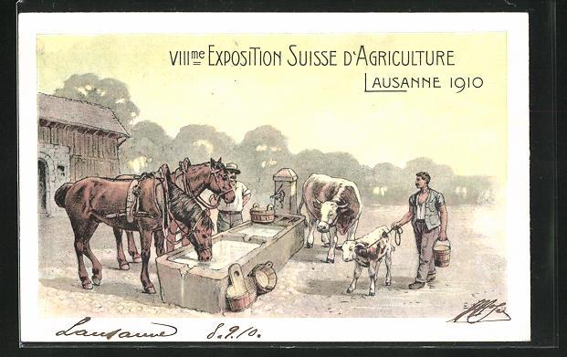 Künstler-AK Lausanne, VIII. Exposition Suisse d`Agriculture 1910, Vieh an der Tränke