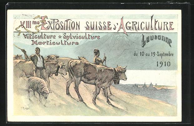 Künstler-AK Lausanne, VIII. Exposition Suisse d`Agriculture 1910, Almabtrieb des Viehs