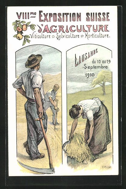 Künstler-AK Lausanne, VIII. Exposition Suisse d`Agriculture 1910, Bauern bei der Maht