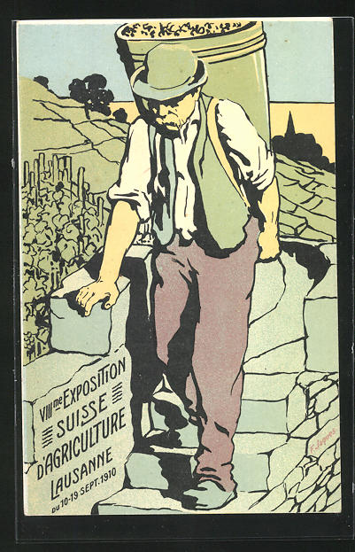 Künstler-AK Lausanne, VIII. Exposition Suisse d`Agriculture 1910, Winzer bei der Weinlese